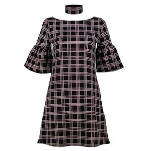 Dresses & Skirts - Bell Sleeve Plaid Stretch Shift Dress + Choker Set